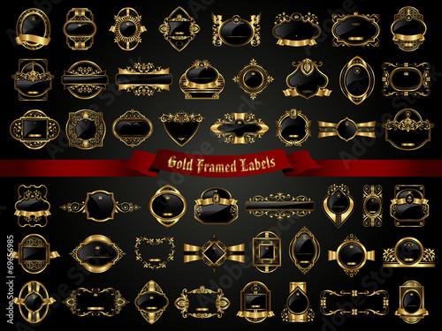Gold framed labels - vintage style