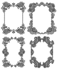 Vector set of calligraphic design vintage frame, black line art