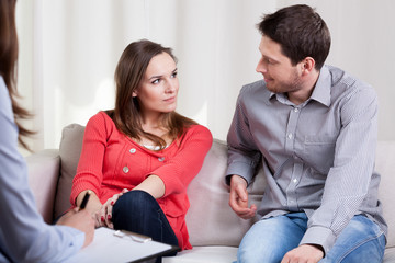 Happy marriage at the and of therapy session