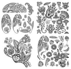 black line art ornate flower design collection, ukrainian ethnic