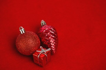 Three red christmas decoration ornaments