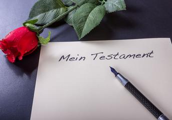 Das Testament mit Rose und Füller