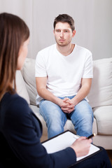 Psychotic depressed man on psychiatric visit