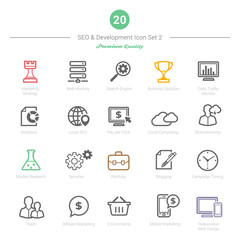 Set of Bold Stroke SEO and Development icons Set 2