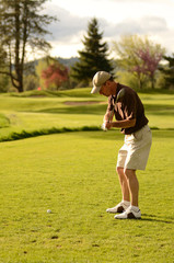 A  golfer competes on a 18 hole golf course