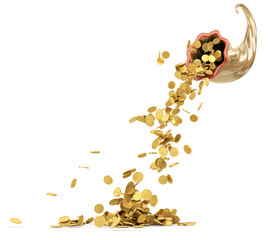 Cornucopia - Golden coins isolated