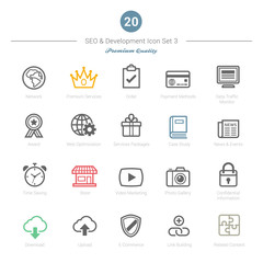 Set of Bold Stroke SEO and Development icons Set 3