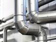canvas print picture - pipeline refinery // Rohrleitungssystem in Brauerei