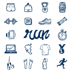 Run icons set in doodle style