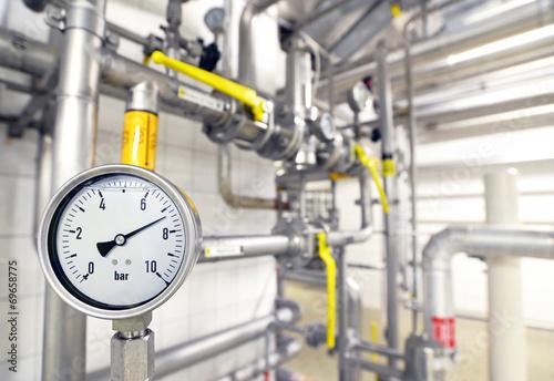 Leinwanddruck Bild Messuhr bei Versorgungsleitungen // controll panel