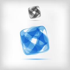 modern blue vector icon logo design with example gray