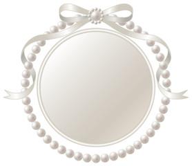 銀のリボンと真珠のフレーム
