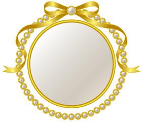 金のリボンと真珠のフレーム