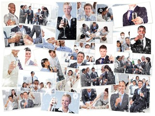 collage of businessmen toasting and drinking