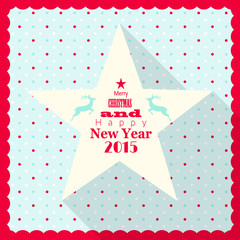 christmas greeting card with white star