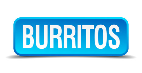 Burritos blue 3d realistic square isolated button