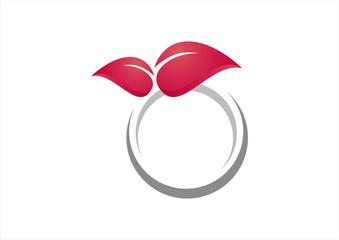 circle leaf pink logo vector