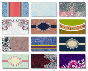collection of colorful floral ornamental business card element