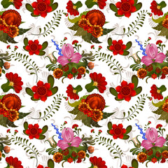 Seamless pattern background with Ukrainian motifs