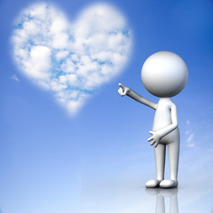 Picture of a a heart cloud on blue sky