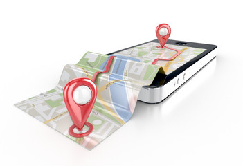 smart phone navigation - mobile gps 3d illustration