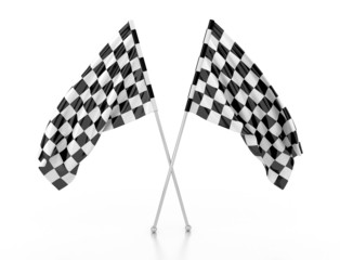 racing flags. 3d illustration