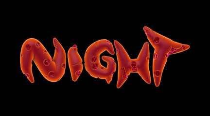 3d orange pink creepy night word on black