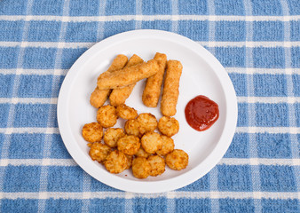 Fish Sticks and Potato Puffs on White Plate
