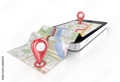 smart phone navigation - mobile gps 3d illustration - 69661722