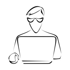 Silhouette of a man sitting at a laptop computer. Graphic drawin