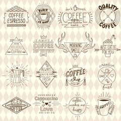 Collection of hipster sketchy coffee labels. Vector illustration