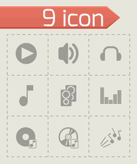 Vector black sound icons set