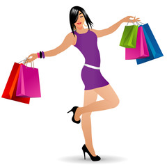 Vector shopping girl with bags