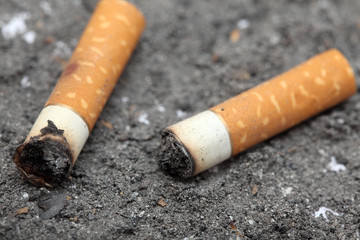 Two cigarette butts