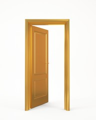 golden opened door on white background