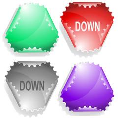 Down. Vector sticker.