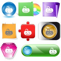 Pumpkin. Vector internet buttons.