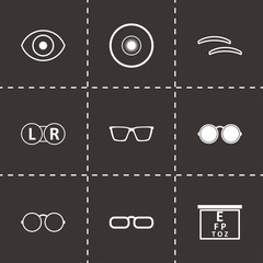 Vector black optometry icons set