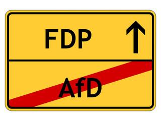 Schild: FDP (Freie Demokratische Partei)