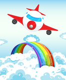 Airplane and rainbow