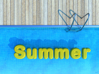 yellow floating toy in swimming pool, summer background