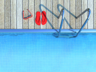 red flip-flops and sunglasses by a swimming pool