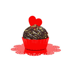 chocolate cupcake with red heart and doily isolated on white