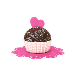 chocolate cupcake with heart and doily isolated on white