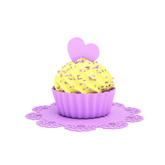 chocolate cupcake with violet heart and doily isolated on white