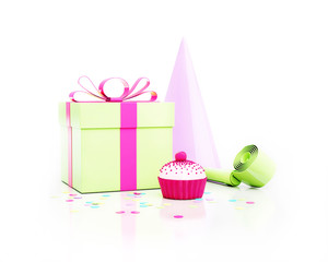 party gift, blower and cupcake with confetti isolated on white