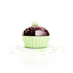 green chocolate cupcake with cherry on top and confetti