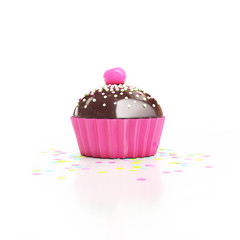 pink chocolate cupcake with cherry on top and confetti