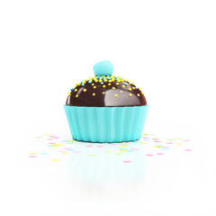 cian chocolate cupcake with cherry on top and confetti