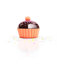 orange chocolate cupcake with cherry on top and confetti